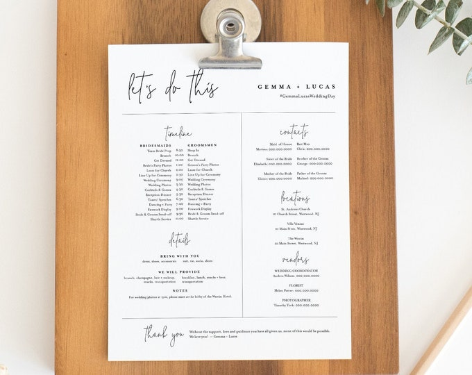 Bridal Party Itinerary, Minimalist Wedding Timeline, Order of Events, Details for Bridesmaid & Groomsmen, Editable, Templett #095-104BPT