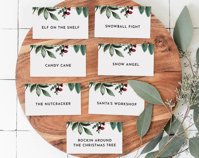 Christmas Pictionary Cards, Holiday Party Game Printable, Family Charades Game, Editable Template, Instant Download, Templett #0018-120CG