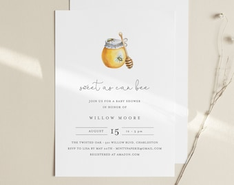 Bee Baby Shower Invitation Template, Sweet as Can Bee, Honey Baby Shower, INSTANT DOWNLOAD, 100% Editable Text, DIY, Templett #097-150BA