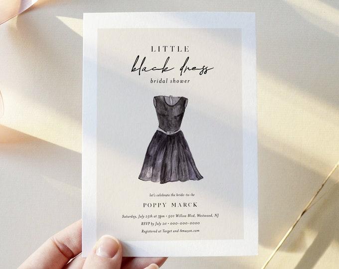 Little Black Dress Bridal Shower Invitation, LBD Bachelorette Party Template, 100% Editable Text, Instant Download, Templett #280BS