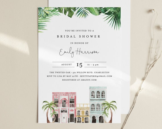 Charleston Bridal Shower Invitation, Couples Shower Invite, Rainbow Row,  Editable Text, Instant Download, Printable, Templett #017B-260BS
