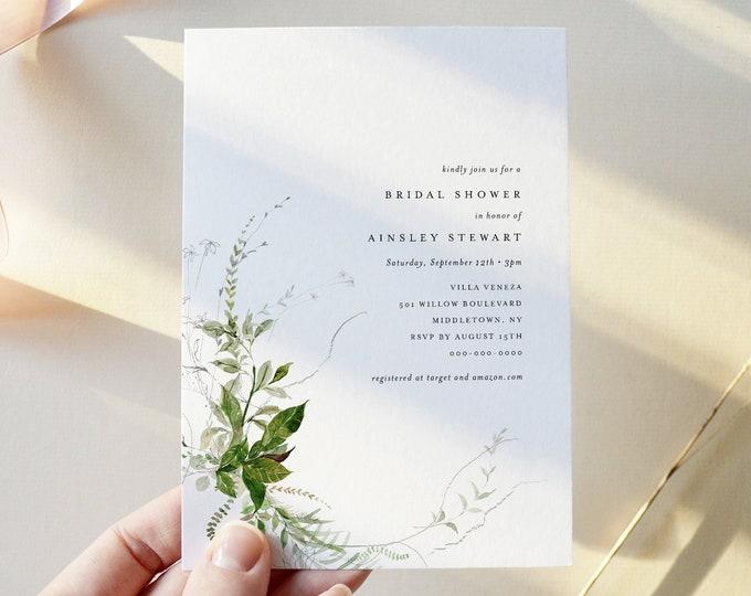 Modern Greenery Bridal Shower Invitation Template, Minimalist Wedding Shower Invite, Editable Text, Instant Download, Templett #0011-277BS