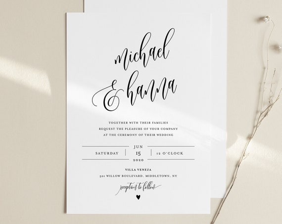 Wedding Invitation Set, INSTANT DOWNLOAD, Modern Calligraphy, Minimalist, Simple, Editable Template, Invite, RSVP, Details, Templett #008B