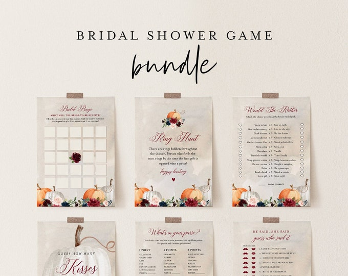Bridal Shower Game Bundle, 12 Editable Templates, INSTANT DOWNLOAD, Customize Name & Questions, Fall Pumpkin Bridal Games, Templett #072BGB