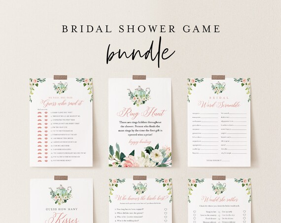 Bridal Shower Game Bundle, 12 Editable Templates, INSTANT DOWNLOAD, Customize Name & Questions, Tea Party Bridal Games, Templett #085BGB