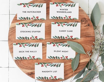 Christmas Pictionary Cards, Holiday Party Game Printable, Family Charade Game, Editable Template, Instant Download, Templett #071-110CG