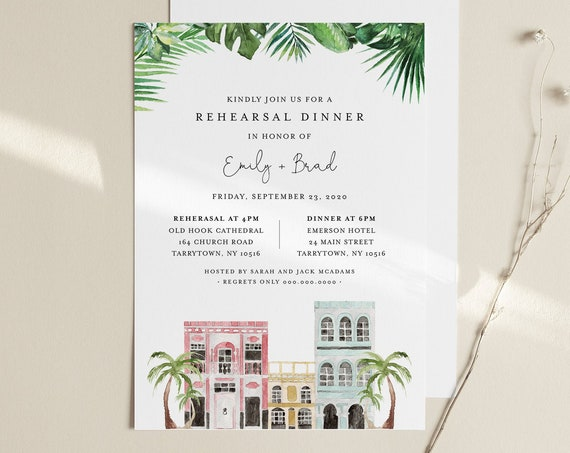 Charleston Rehearsal Dinner Template, INSTANT DOWNLOAD, 100% Editable Text, Printable Rehearsal Invite, DIY, Templett, Digital #017B-152RD