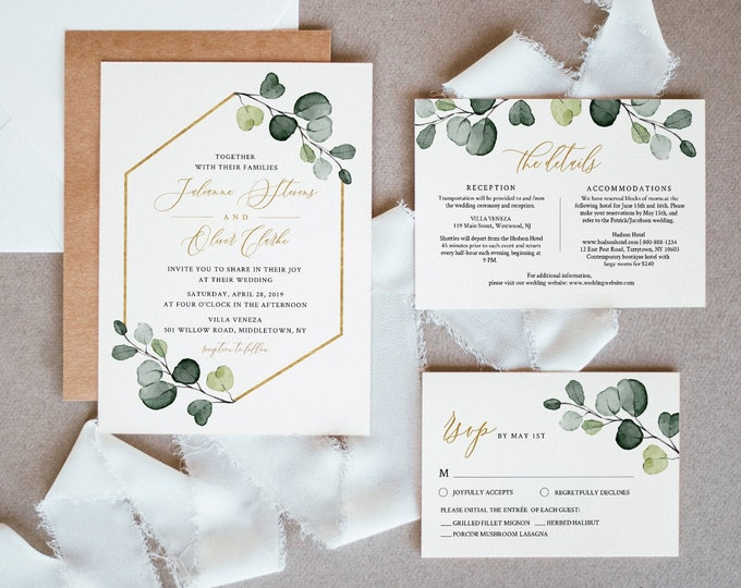 Greenery & Gold Wedding Invitation Template, Printable Invite, RSVP and Details, Instant Download, 100% Editable Text, Templett #007A