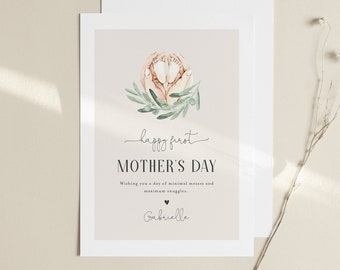 1st Mother's Day Card, New Mom, First Mothers Day Printable, Personalize, Editable Template, Instant Download, Templett, 5x7 #108MDC