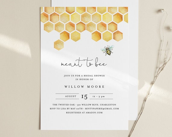 Bee Bridal Shower Invitation Template, Printable Meant to Bee Wedding Shower Invite, 100% Editable Text, Instant Download, DIY #097-263BS
