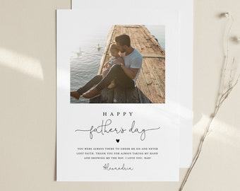 Personalized Photo Father's Day Card, Custom Insert Your Own Image, 100% Editable, Printable & Digital, Instant Download, Templett #101FDC
