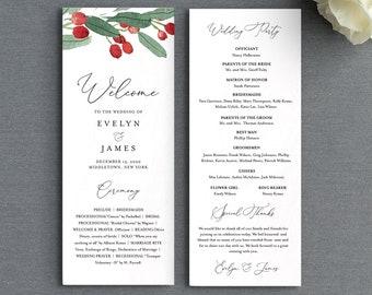 Wedding Program Template, Printable Winter Order of Service, Editable Flat Program, Holly Wedding, Instant Download, Templett #071-226WP