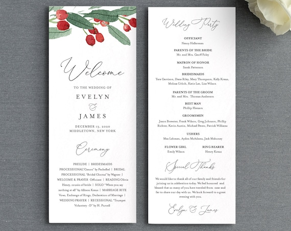 Wedding Program Template, Printable Winter Order of Service, Editable Flat Program, Holly Wedding, Instant Download, Templett #071-226WP