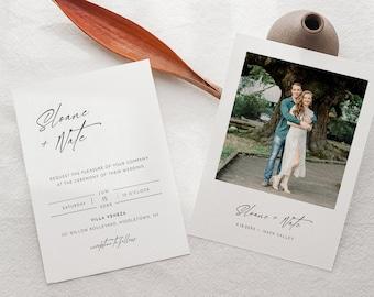 Modern Photo Wedding Invitation Set, Minimalist, Elegant, Editable Template, Invite, RSVP, Details, Instant Download, Templett #0023B