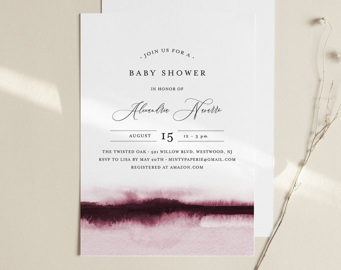 Baby Shower Invitation Template, Printable Baby Shower Invite, Burgundy Watercolor, Editable, DIY, Templett, INSTANT DOWNLOAD #093B-145BA
