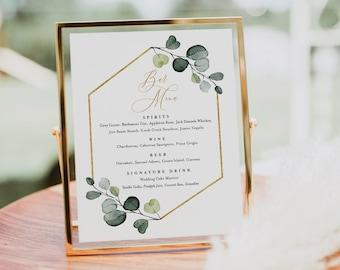 Greenery Bar Menu Sign, Printable Wedding Bar Menu, Alcohol Drinks Menu, 100% Editable Template, Instant Download, Templett #007-108BM