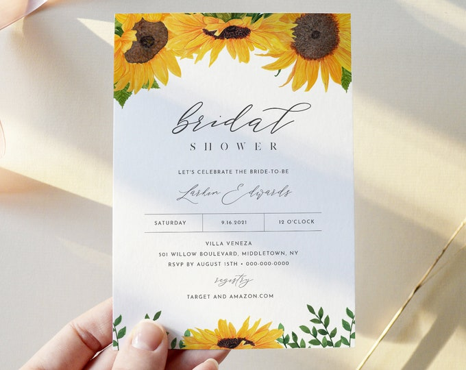 Sunflower Bridal Shower Invitation, Summer Couples Shower Invite, Wedding Shower, INSTANT DOWNLOAD, Editable Text, Printable #0010-276BS