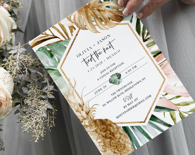 Elopement Invitation Template, Tropical Destination Wedding, Editable Reception Party Invite, INSTANT DOWNLOAD, Templett #087-120EL
