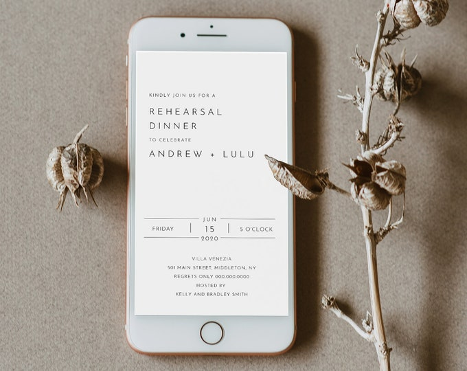 Digital Rehearsal Dinner Invite, Modern Minimalist Wedding Electronic Invitation, Evite, Text Message, Templett Instant Download #094-102RDD