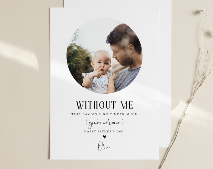 Funny Father's Day Card Template, 100% Editable, Photo Card, Personalize, Print or Send Electronically, Instant Download, Templett #105FDC