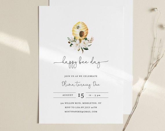 Bee Birthday Day Invitation Template, Happy Bee Day, Beehive, Honey, 1st Birthday, 100% Editable Text, Instant Download, Templett #097-102BD