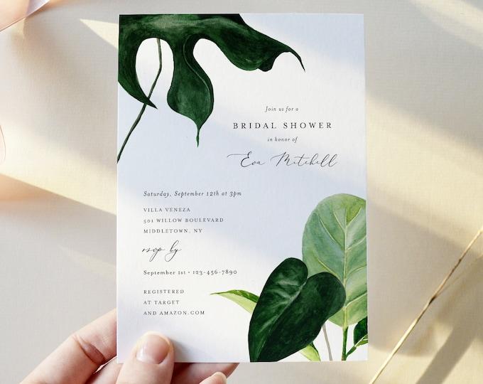 Modern Tropical Bridal Brunch Shower Invitation, Minimalist Greenery, Editable Wedding Shower Invite, Instant Download, Printable 0012-279BS