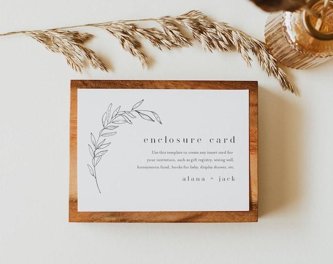 Minimalist Enclosure Card, Fine Art Wedding Invitation Insert, Baby Shower Insert, Editable Details & Info, Instant Download #0006B-165EC