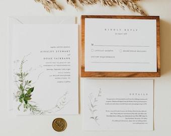 Modern Greenery Wedding Invitation Set, INSTANT DOWNLOAD, Minimalist, Elegant, Editable Template, Invite, RSVP, Details, Templett #0011A