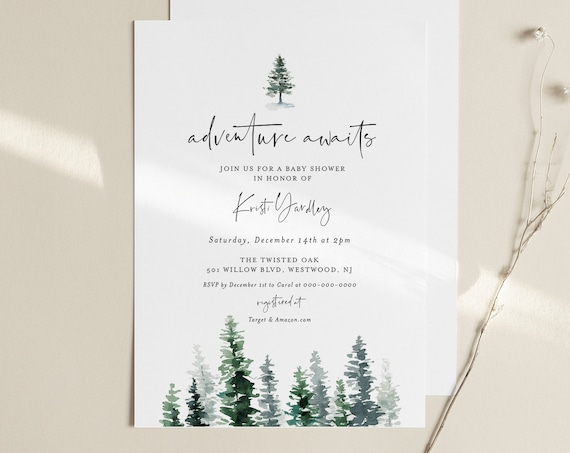 Baby Shower Invitation, Rustic Pine Tree Winter Baby Shower, Adventure Awaits, Editable Template, INSTANT DOWNLOAD, Templett #073-133BA