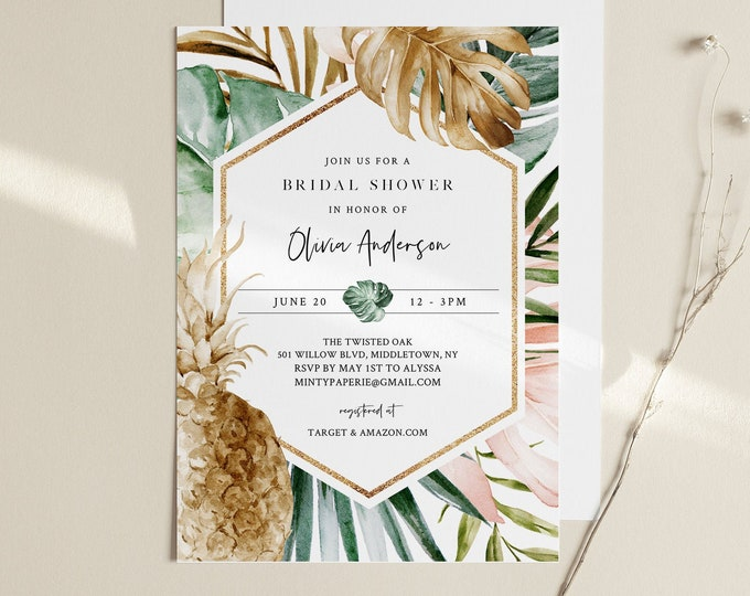Tropical Bridal Shower Invitation, Blush and Gold, Pineapple, Summer Wedding Shower, INSTANT DOWNLOAD, Editable Template, Templett 087-248BS