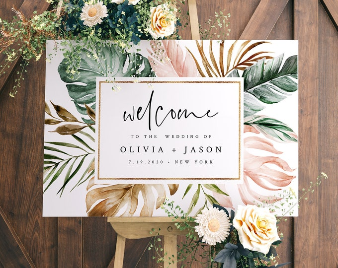 Tropical Welcome Sign Template, Printable Destination Wedding or Baby / Bridal Shower Poster, Instant Download, Editable, Templett 087-174LS