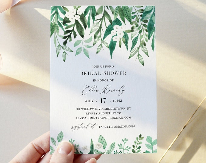 Lush Garden Bridal Shower Invite,  Greenery Couples Shower Invite Template, 100% Editable Text, Instant Download, Templett #080A-286BS
