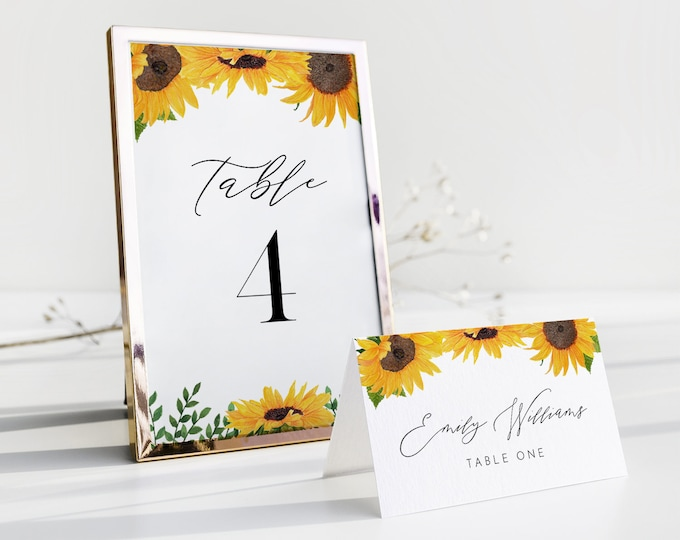 Sunflower Table Number Card Template, Rustic Fall Wedding Table Number, Editable, INSTANT DOWNLOAD, Templett, DIY 4x6 #0010-189TC
