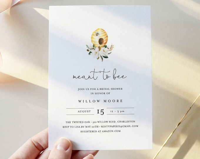 Bee Bridal Shower Invitation Template, Printable Meant to Bee Wedding Shower Invite, 100% Editable Text, Instant Download, DIY #097-285BS
