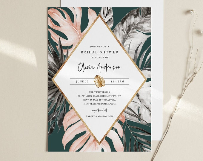 Tropical Bridal Shower Invitation, Monstera Blush and Gold, Summer Wedding Shower, INSTANT DOWNLOAD, Editable Template, Templett #087-250BS