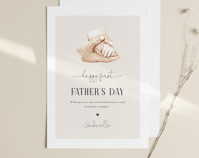 1st Father's Day Card, New Dad, First Fathers Day Printable, Personalize, Editable Template, Instant Download, Templett, 5x7 #106FDC