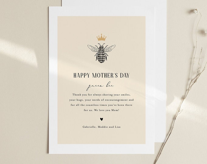 Queen Bee Mother's Day Card, Printable Funny Mothers Day Template, Personalize, Editable Template, Instant Download, Templett, 5x7 #110MDC