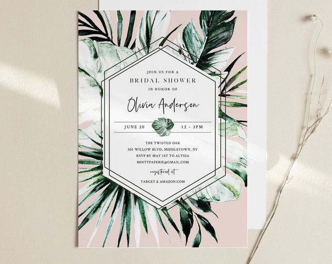 Tropical Bridal Shower Invitation, Couples Shower Template, Monstera and Palm, Editable Summer Wedding Shower, INSTANT DOWNLOAD #087-249BS