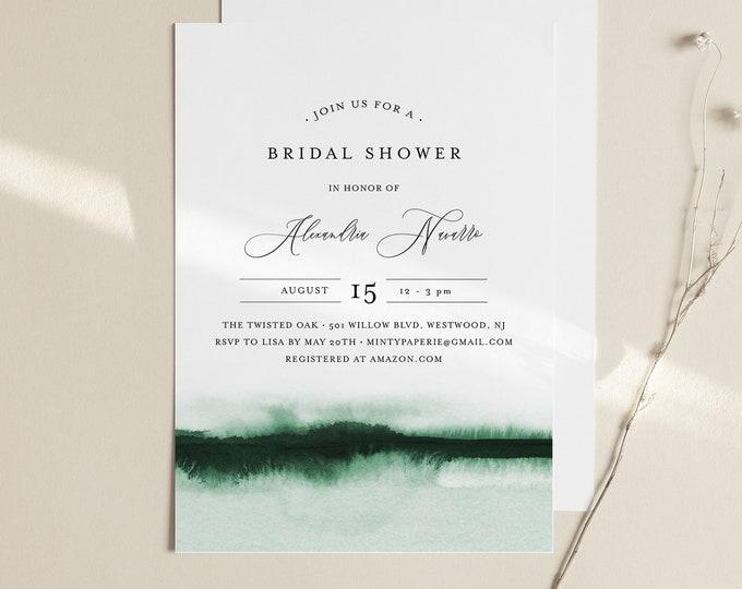 Watercolor Bridal Shower Invitation Template, Minimalist Wedding Shower Invite, INSTANT DOWNLOAD, 100% Editable, Printable #093C-259BS