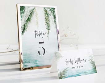 Tropical Table Number Card Template, Beach Destination Wedding Table Number, Editable, INSTANT DOWNLOAD, Templett, DIY 4x6 #099-194TC