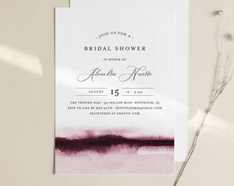 Watercolor Bridal Shower Invitation Template, Minimalist Wedding Shower Invite, INSTANT DOWNLOAD, 100% Editable, Printable #093B-258BS