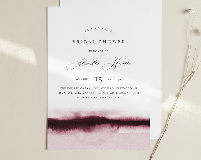 Watercolor Bridal Shower Invitation Template, Minimalist Wedding Shower Invite, INSTANT DOWNLOAD, 100% Editable, Printable #093B-258BS