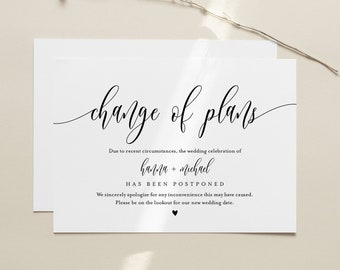 Change of Plans, Postponed Wedding Date Announcement, Wedding Postponed, Evite, Text Message, 100% Editable, INSTANT DOWNLOAD #008-105PA