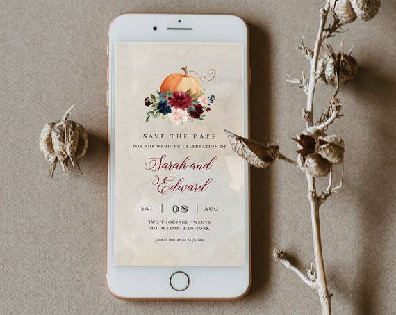 Fall Save the Date, Pumpkin Electronic Invitation, Evite, Digital, Text Invite, Editable Text, Templett, Instant Download #072-115SDD