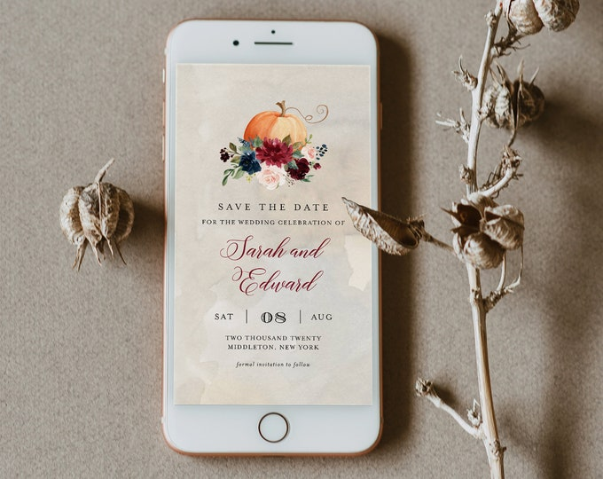 Fall Save the Date, Pumpkin Electronic Invitation, Evite, Digital, Text Invite, Editable Text, Templett, Instant Download #072A-115SDD