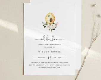 Oh Babee Baby Shower Invitation Template, Printable Bee Baby Shower Invite, INSTANT DOWNLOAD, 100% Editable Text, DIY, Templett #097-152BA