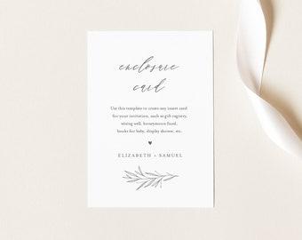 Minimal Enclosure Card, Simple Wedding Invitation Insert, Baby Shower Insert, Editable Details & Info, Instant Download, Templett 0007-168EC