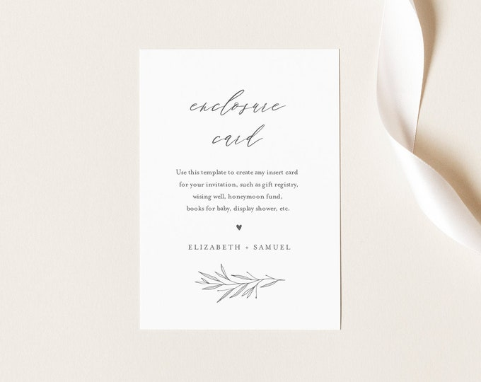 Minimal Enclosure Card, Simple Wedding Invitation Insert, Baby Shower Insert, Editable Details & Info, Instant Download, Templett 0007-168EC