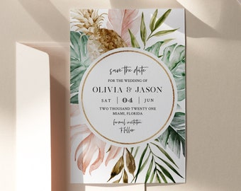 Tropical Save the Date Template, Printable Summer Beach Wedding, Palm, Monstera, INSTANT DOWNLOAD, 100% Editable Text, Templett #087-157SD