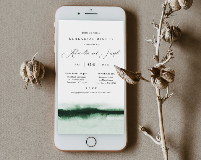 Watercolor Digital Rehearsal Dinner Invite, Wedding Electronic Invitation, Evite, Text Message, Templett Instant Download #093C-105RDD